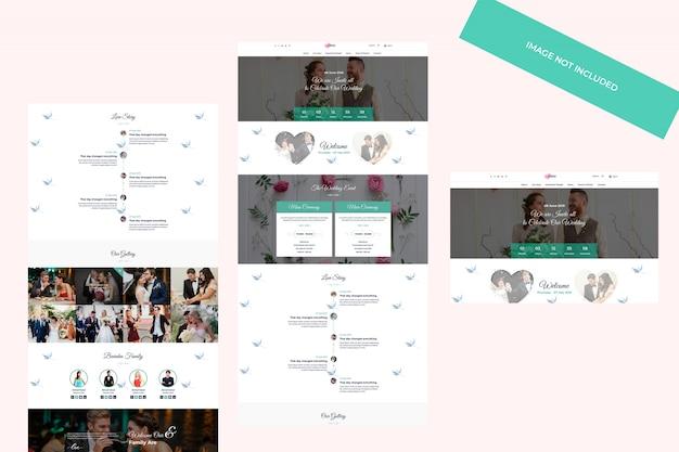 Design a tema web, modello psd. concetto di wedding planner.