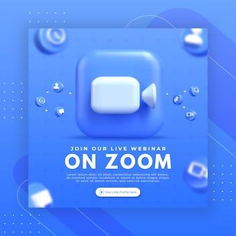 Promozione della pagina webinar con logo zoom rendering 3d per modello di post instagram