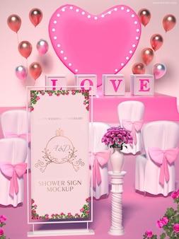 Mockup di banner da sposa per matrimonio