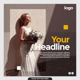 Modello di post social media abito da sposa