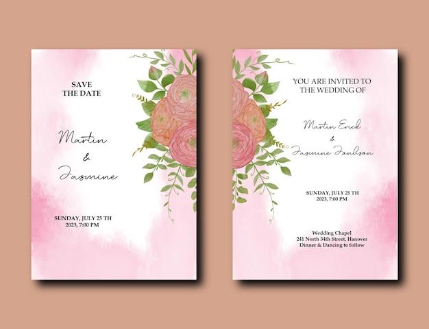 Biglietto d'invito per matrimonio con disegno floreale ed elegante stile acquerello con fiori di peonia