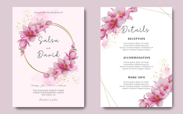 Modello di carta di invito a nozze e carta di dettaglio con decorazione di fiori di ciliegio ad acquerello