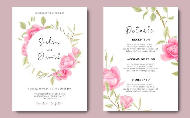 Modello di carta di invito a nozze e carta di dettagli con rose ad acquerello