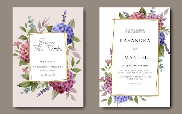 Modello di carta di invito a nozze con bellissimi fiori di ortensie dell'acquerello