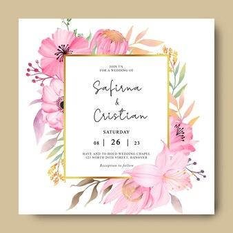 Modello di carta di invito a nozze con fiori romantici ad acquerello