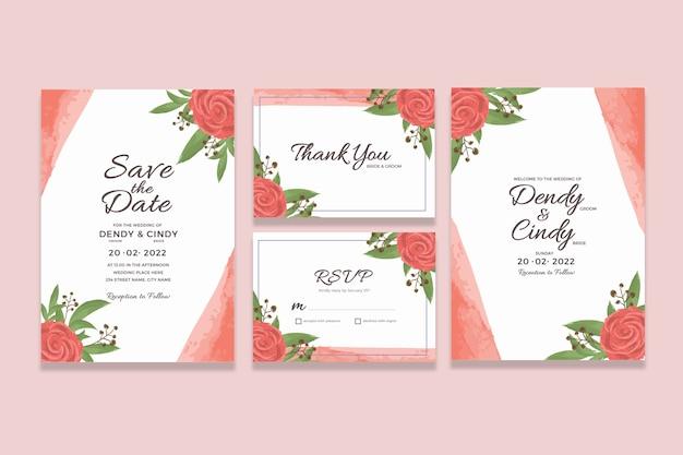 Modello di carta di invito matrimonio con decorazioni floreali cornice dell'acquerello