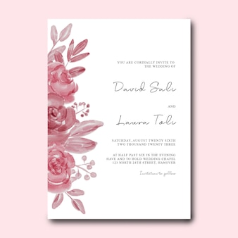 Modello di carta di invito a nozze con decorazione floreale ad acquerello