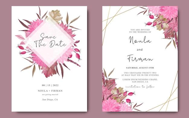 Modello di carta di invito a nozze con fiori ad acquerello