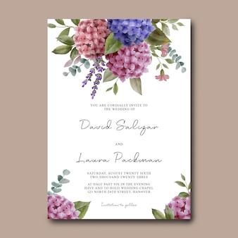 Modello di carta dell'invito di nozze con bouquet di fiori di ortensie dell'acquerello