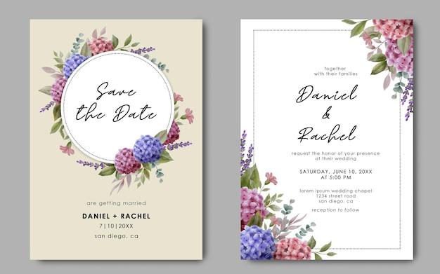 Modello di carta di invito a nozze con fiori di ortensie dell'acquerello