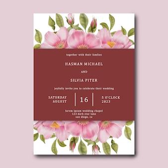 Modello di carta di invito a nozze con sfondo di fiori di rosa rosa dell'acquerello watercolor