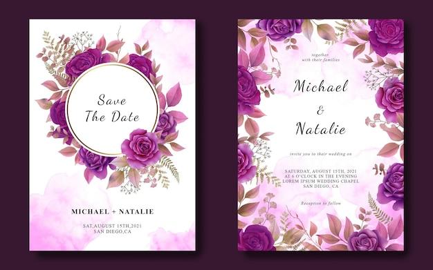 Modello di carta di invito a nozze con rose viola dell'acquerello