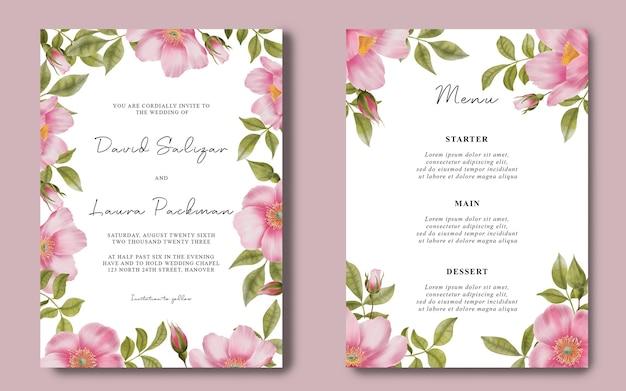 Modello di carta di invito a nozze con sfondo di fiori di rosa ad acquerello