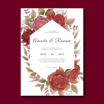 Modello di carta di invito a nozze con cornice di fiori di rosa dell'acquerello