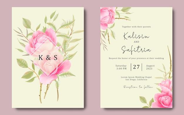 Modello di carta di invito a nozze con rose ad acquerello