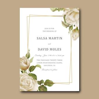 Modello di carta di invito a nozze con rose bianche e cornice dorata