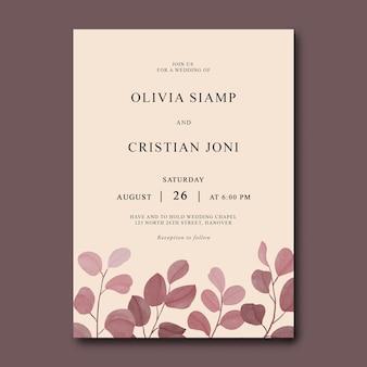 Carta di invito a nozze con modello di foglie di eucalipto dell'acquerello