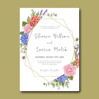 Modello di invito a nozze con bellissimo bouquet di ortensie