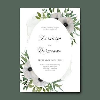 Modello di invito a nozze con bellissimi fiori bianchi dell'acquerello
