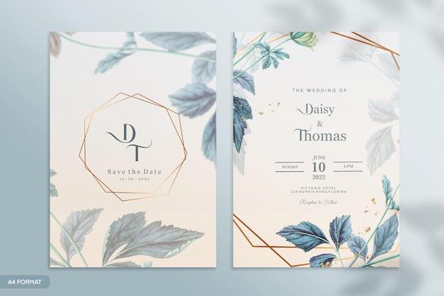 Modello di invito a nozze con fiore blu