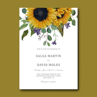 Modello di invito a nozze con cornice girasole disegnata a mano e foglie di eucalipto