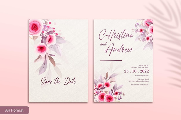Modello di invito a nozze con fiore rosa