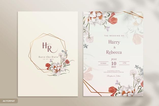 Modello di invito a nozze con fiore rosso