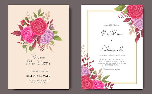 Modello di invito a nozze con modello di cornice fiore rosa