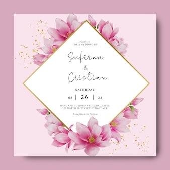 Modello di invito a nozze con cornice di fiori di ciliegio ad acquerello