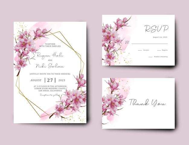 Modello di invito a nozze con fiori di ciliegio ad acquerello
