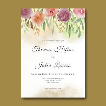 Modello di invito a nozze con bouquet di fiori dell'acquerello