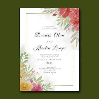 Modello di invito a nozze con cornice fiore dell'acquerello