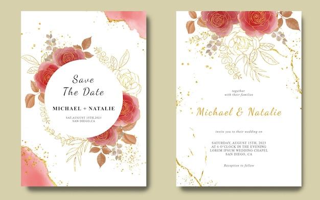Modello di invito a nozze con fiori ad acquerelli e fondo oro