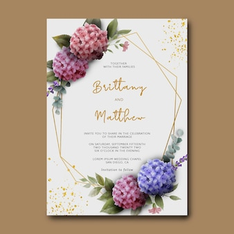Modello di invito a nozze con bouquet di fiori di ortensie dell'acquerello