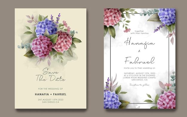 Modello di invito a nozze con cornice floreale di ortensie dell'acquerello