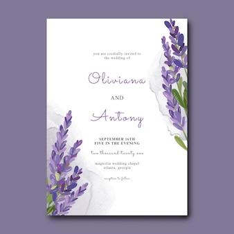 Modello di invito a nozze con fiori di lavanda dell'acquerello