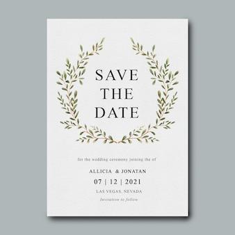 Modello di invito a nozze con decorazione foglia acquerello