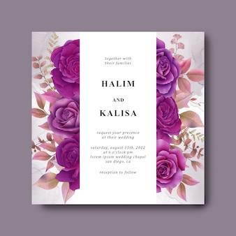 Modello di invito a nozze con fiori viola dell'acquerello