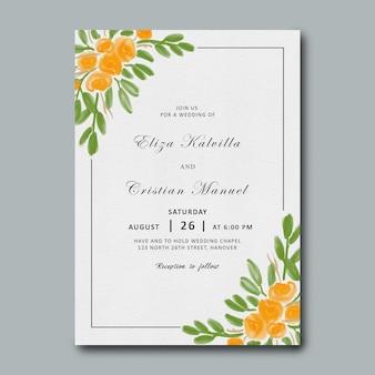 Modello di invito a nozze con cornice fiore giallo dell'acquerello