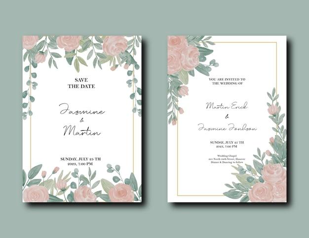 Invito a nozze con rose rosa e foglie negli angoli in alto a sinistra e a destra