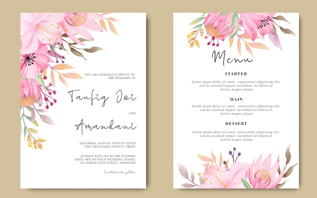 Invito a nozze con fiori romantici ad acquerelli