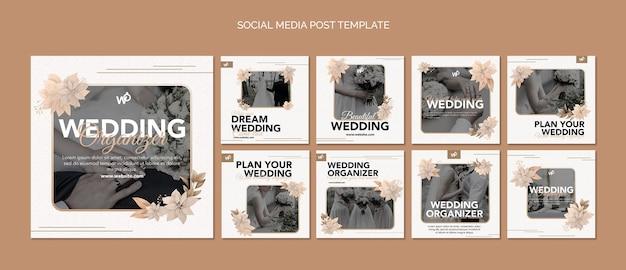 Post sui social media dell'organizzatore di matrimoni