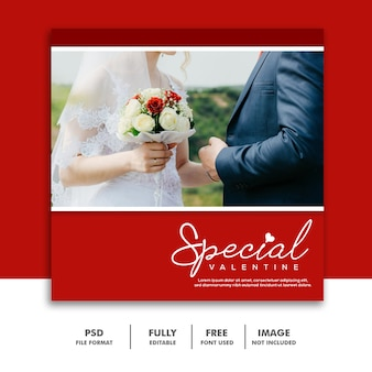 Posta rossa del instagram del modello di nozze