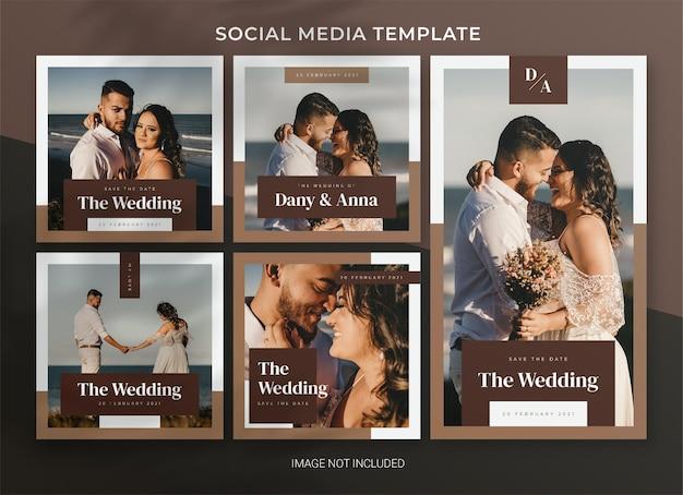 Modello di bundle di post sui social media per matrimoni