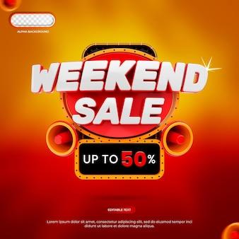 Rendering 3d di banner di vendita di fine settimana