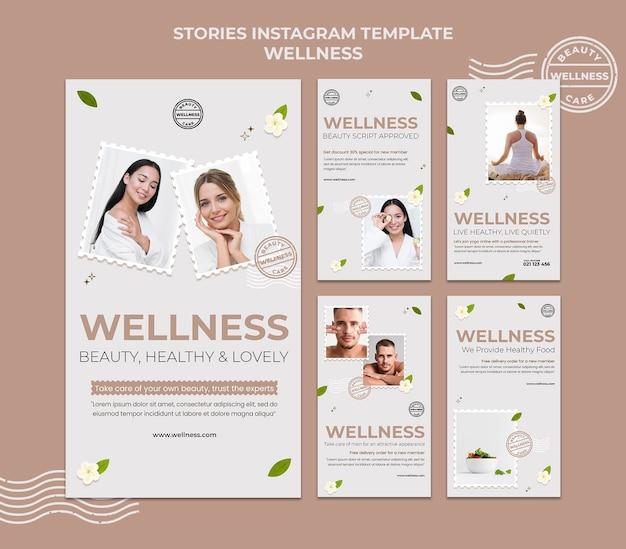 Modello di storie di instagram di benessere con foto