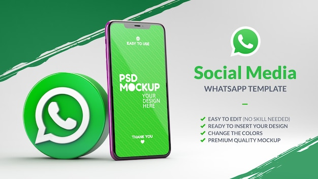 Icona di whatsapp con un mockup di telefono per un marketing in rendering 3d