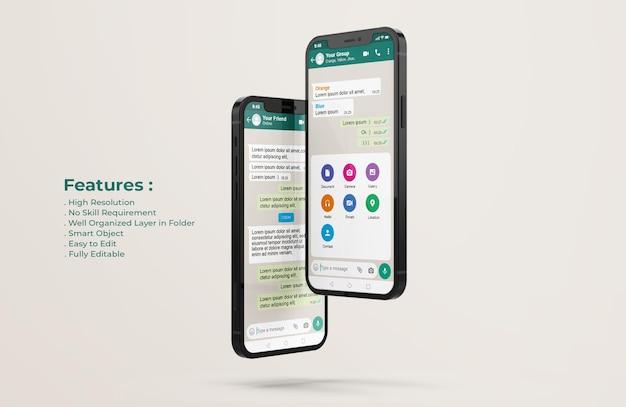 Modello di interfaccia whatsapp sul mockup del telefono cellulare