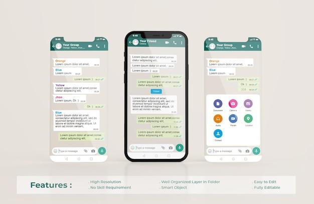 Modello di interfaccia whatsapp sul telefono cellulare e mockup di presentazione dell'app ui ux