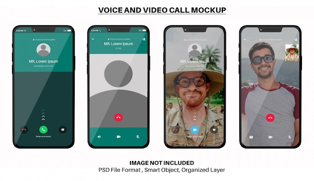 Mockup di chiamate vocali e video whatsapp su smartphone